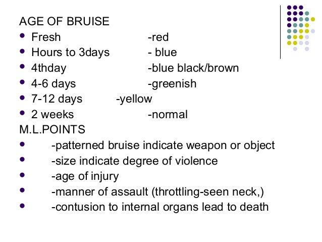 Bruise age dating chart youtube 1