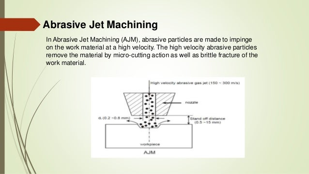 abrasive jet machining Abrasive jet machining uses a water jet cutter capable of slicing into metal or other materials using an extremely high pressure stream of water and abrasive materials this water jet machining process is essentially the same process as naturally occurring water erosion, but it occurs much more quickly and forcefully.