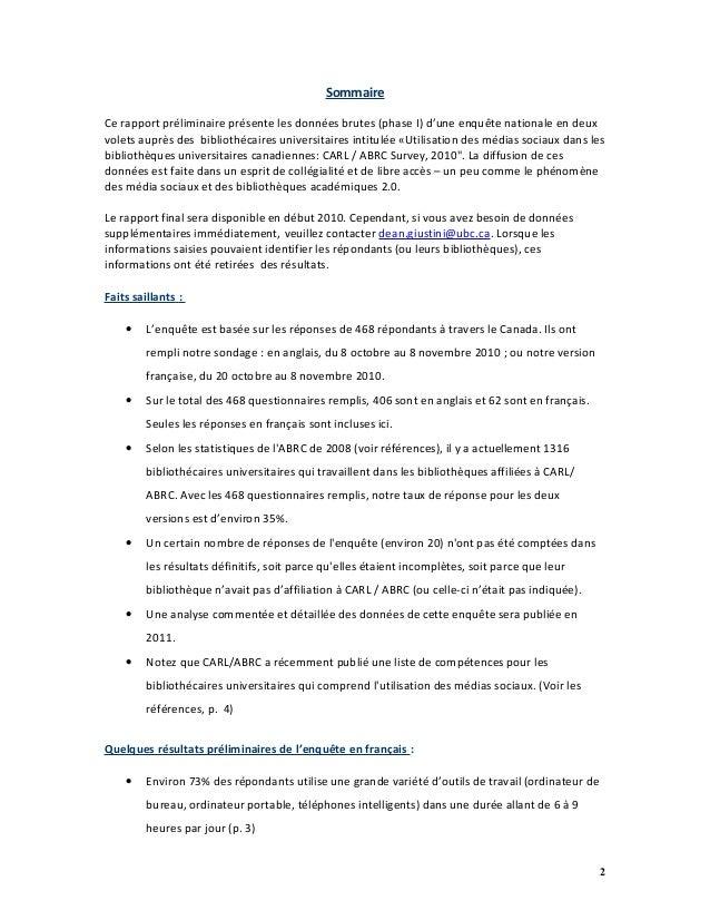 L'utilisation des médias sociaux dans les bibliothèques universitaires canadiennes : sondage ABRC / CARL 2010 Slide 2