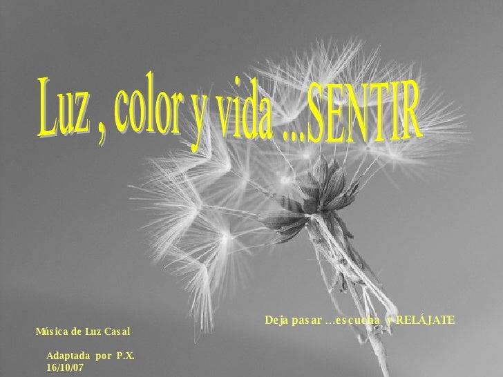 Luz , color y vida ...SENTIR Música de Luz Casal   Adaptada  por  P.X. 16/10/07 Deja pasar …escucha  y RELÁJATE