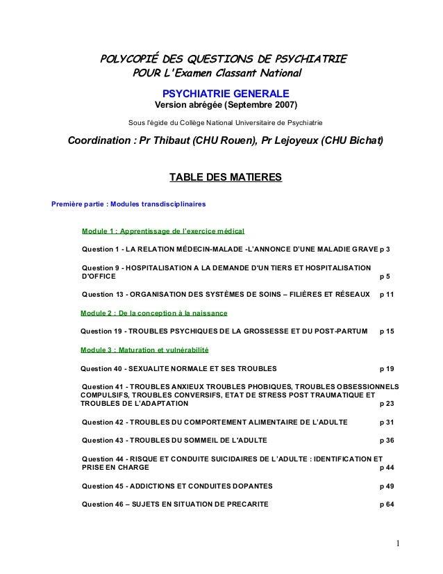 POLYCOPIÉ DES QUESTIONS DE PSYCHIATRIE POUR L'Examen Classant National PSYCHIATRIE GENERALE Version abrégée (Septembre 200...