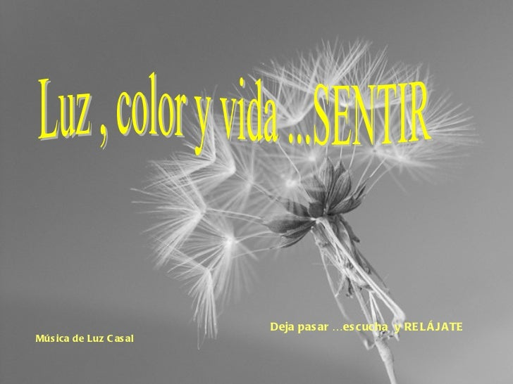 Luz , color y vida ...SENTIR Música de Luz Casal   Deja pasar …escucha  y RELÁJATE