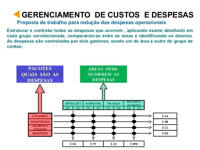 Estruturar e controlar todas as despesas que ocorrem , aplicando exame detalhado em cada grupo correlacionada, comparando-...