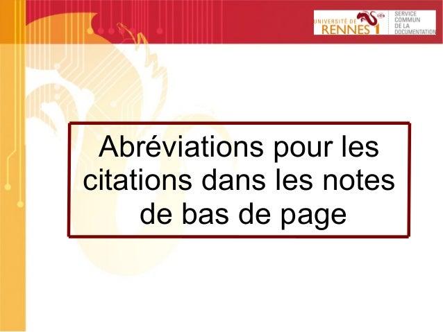 SCD 1 Abréviations pour les citations dans les notes de bas de page