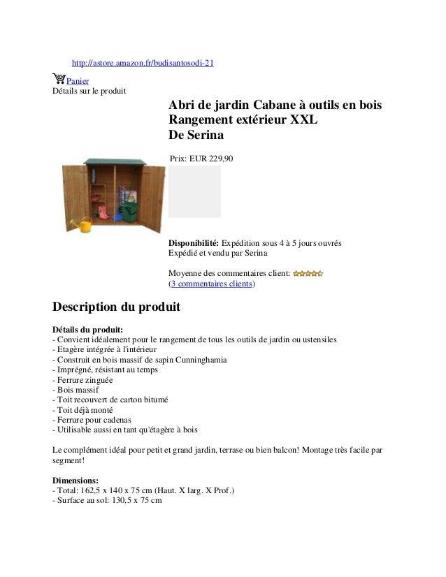 http://astore.amazon.fr/budisantosodi-21PanierDétails sur le produitAbri de jardin Cabane à outils en boisRangement extéri...