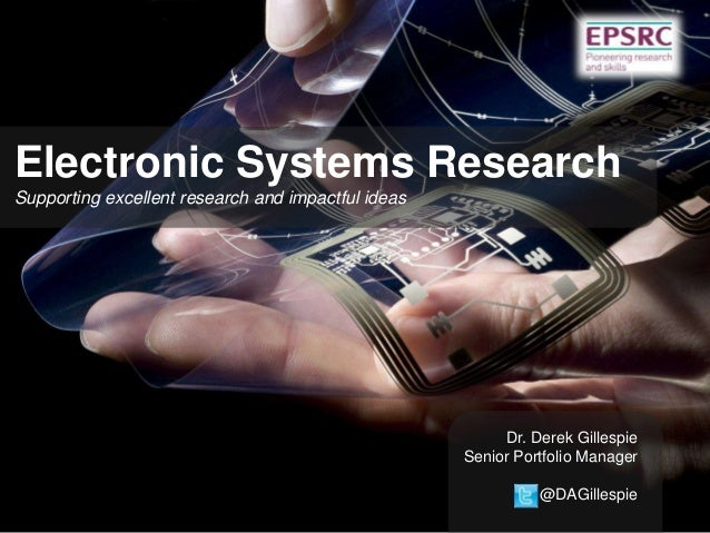 Electronic Systems Research Supporting excellent research and impactful ideas  Dr. Derek Gillespie Senior Portfolio Manage...