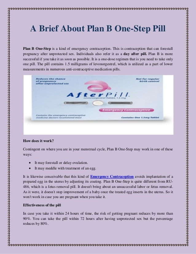 A Brief About Plan B One Step Pill