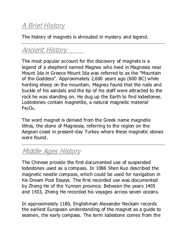A brief history on magnets