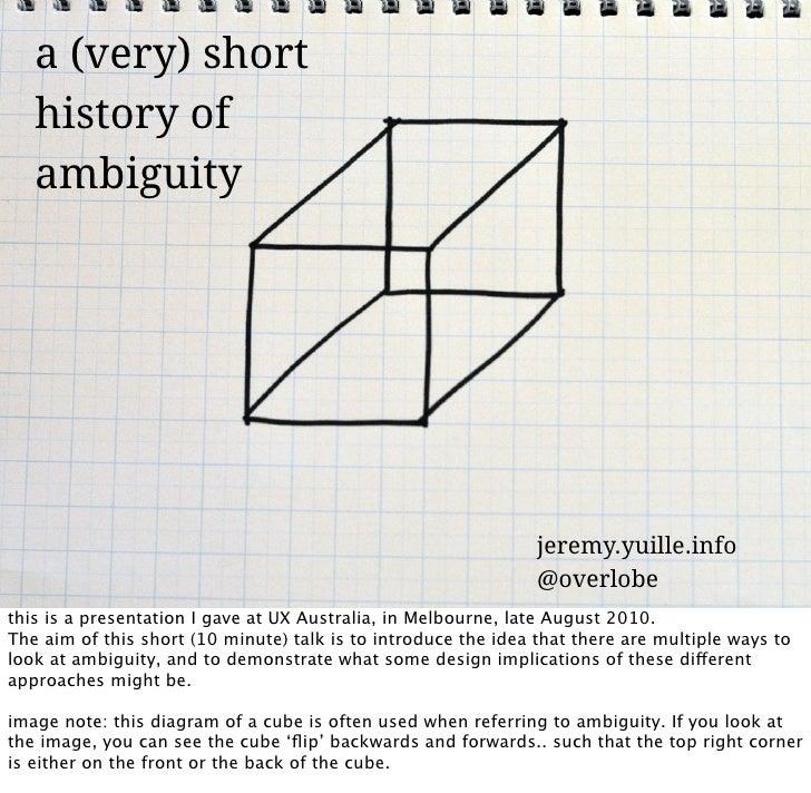 a (very) short    history of    ambiguity                                                                     jeremy.yuill...