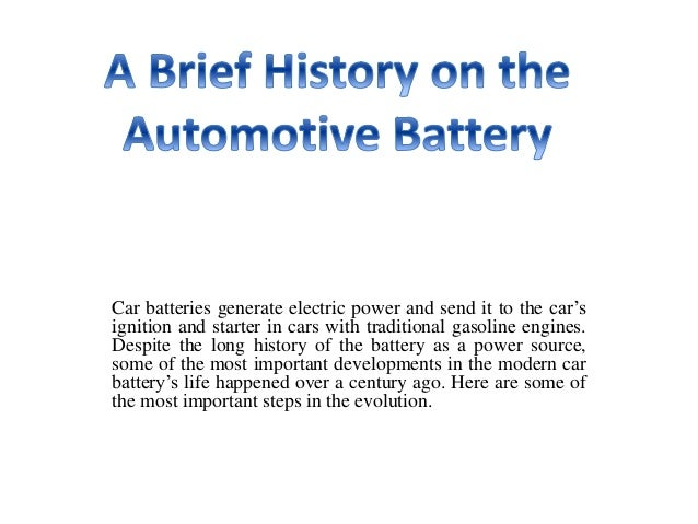 Car batteries generate electric power and send it to the car's ignition and starter in cars with traditional gasoline engi...