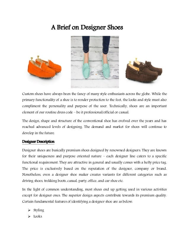 A Brief on Designer Shoes