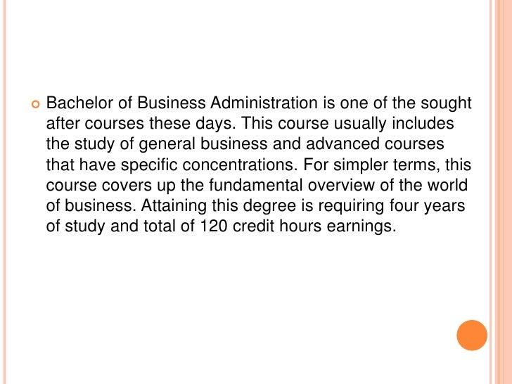 A brief outline for bachelor of business administration Slide 2