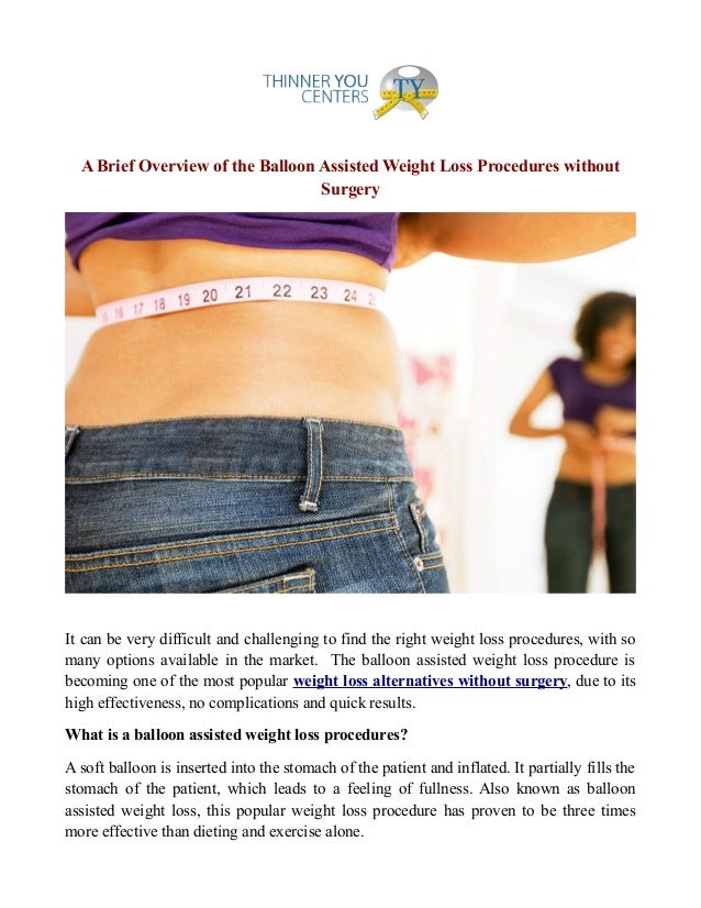 Weight loss procedures without surgery