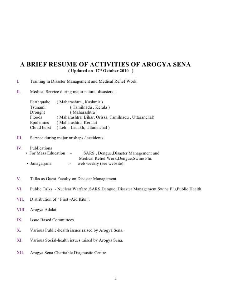 A BRIEF RESUME OF ACTIVITIES OF AROGYA SENA                                 ( Updated on 17th October 2010 )I.        Trai...