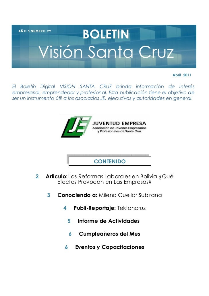BOLETIN  A Ñ O 5 NU M E R O 2 9               Visión Santa Cruz                                                           ...