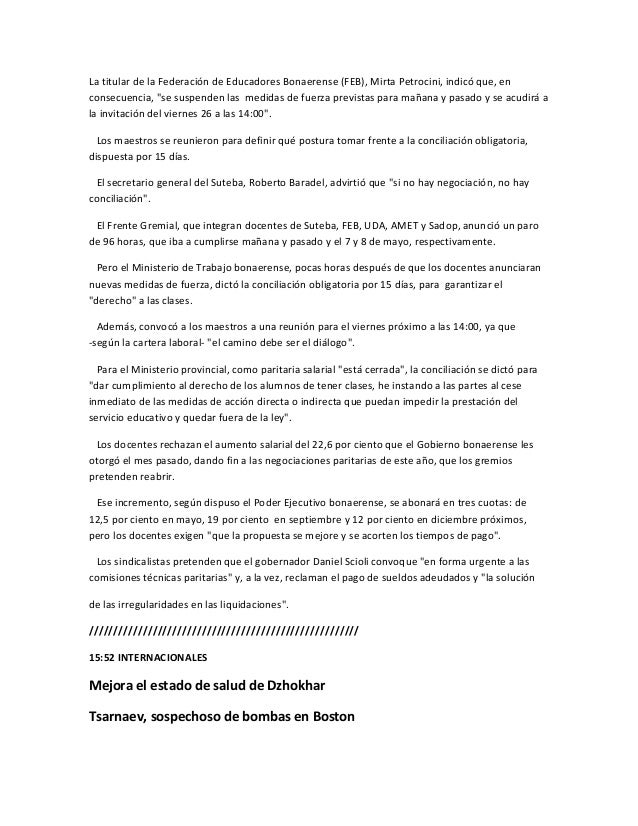 """La titular de la Federación de Educadores Bonaerense (FEB), Mirta Petrocini, indicó que, enconsecuencia, """"se suspenden las..."""