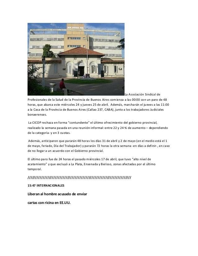 La Asociación Sindical deProfesionales de la Salud de la Provincia de Buenos Aires comienza a las 00:00 con un paro de 48h...