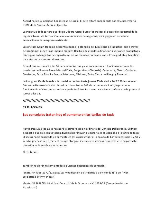 Argentina) en la localidad bonaerense de Junín. El acto estará encabezado por el SubsecretarioPyME de la Nación, Andrés El...