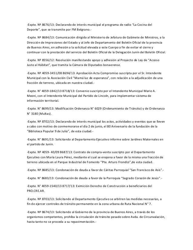 """-Expte. Nº 8676/13: Declarando de interés municipal el programa de radio """"La Cocina delDeporte"""", que se transmite por FM B..."""