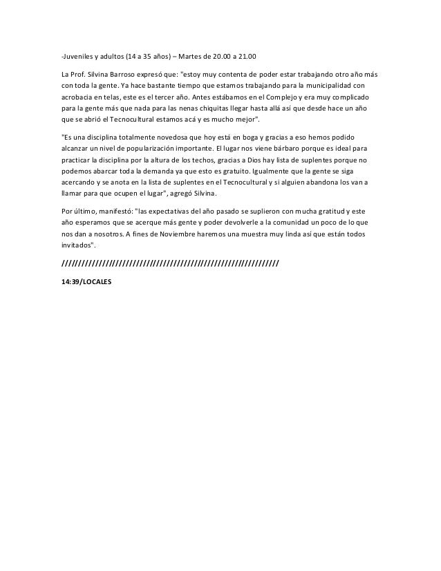 """-Juveniles y adultos (14 a 35 años) – Martes de 20.00 a 21.00La Prof. Silvina Barroso expresó que: """"estoy muy contenta de ..."""