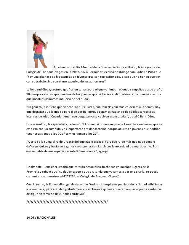 En el marco del Día Mundial de la Conciencia Sobre el Ruido, la integrante delColegio de Fonoaudiólogos en La Plata, Silvi...