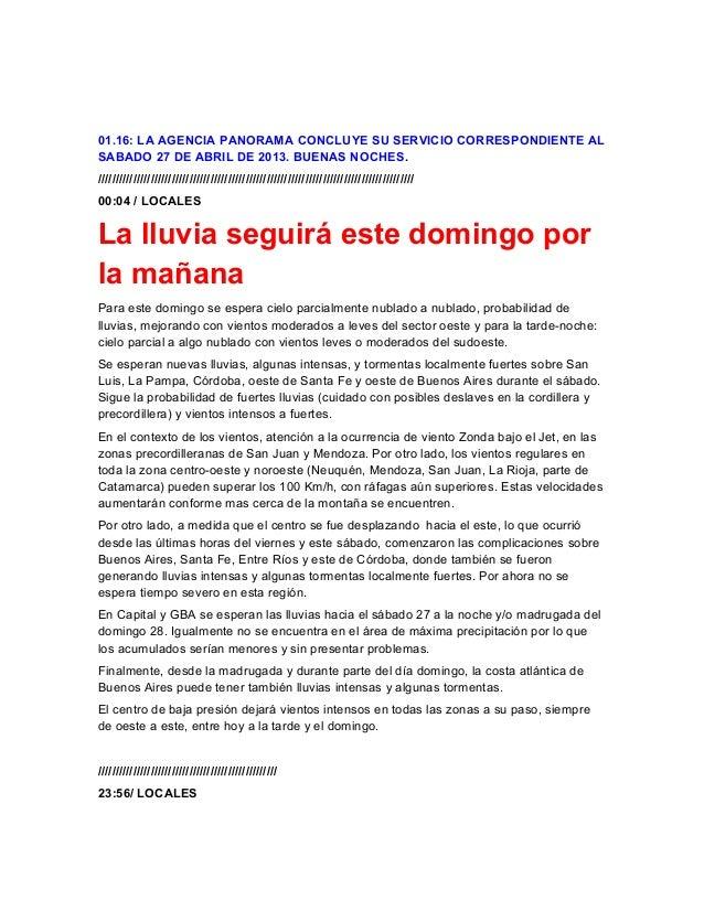 01.16: LA AGENCIA PANORAMA CONCLUYE SU SERVICIO CORRESPONDIENTE ALSABADO 27 DE ABRIL DE 2013. BUENAS NOCHES.//////////////...