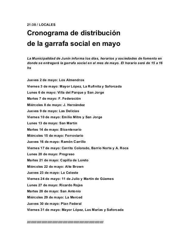 21:38 / LOCALESCronograma de distribuciónde la garrafa social en mayoLa Municipalidad de Junín informa los días, horarios ...