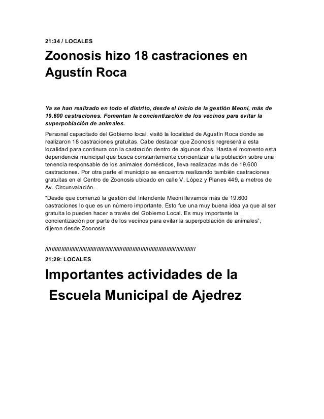 21:34 / LOCALESZoonosis hizo 18 castraciones enAgustín RocaYa se han realizado en todo el distrito, desde el inicio de la ...