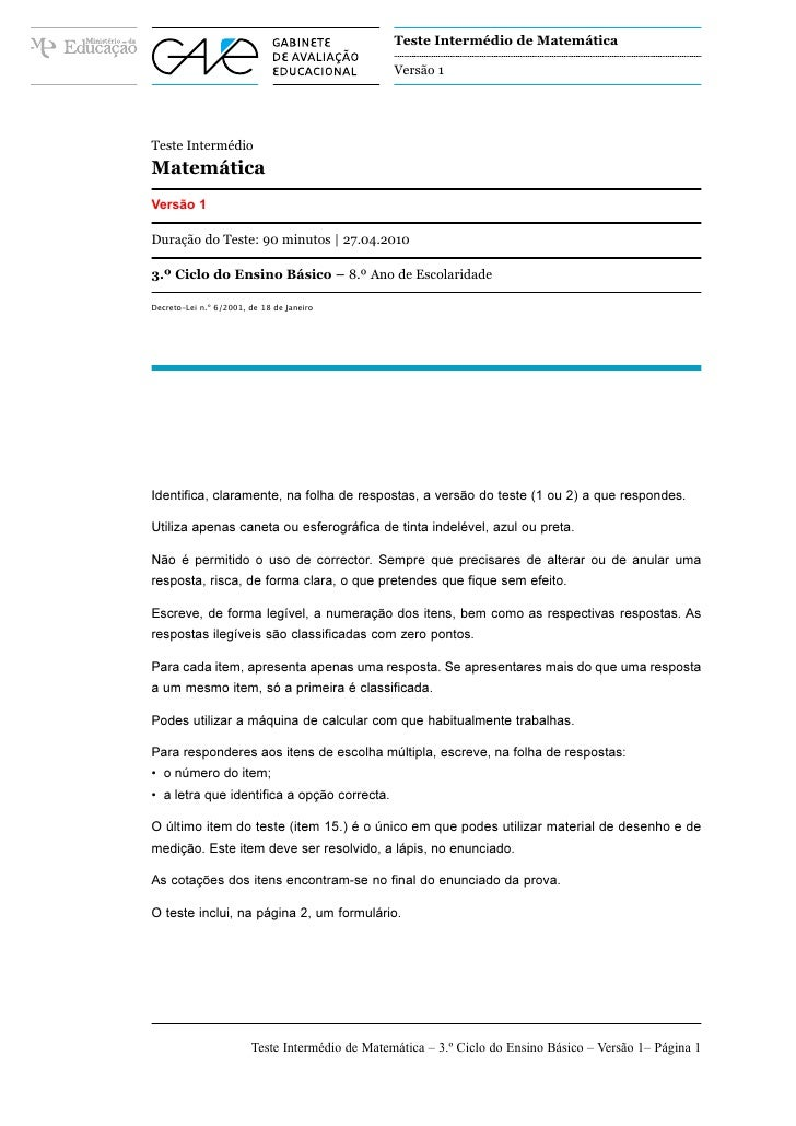 Teste Intermédio de Matemática                                                 Versão 1Teste IntermédioMatemáticaVersão 1D...