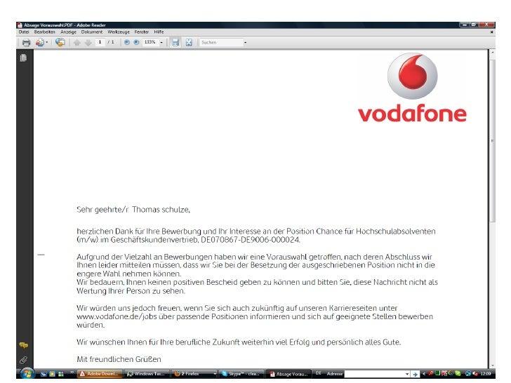 absage vodafone - Vodafone Bewerbung