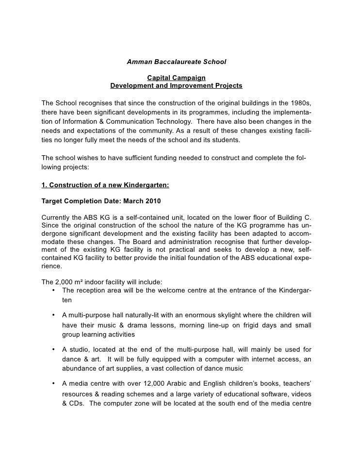 Amman Baccalaureate School                                  Capital Campaign                        Development and Improv...