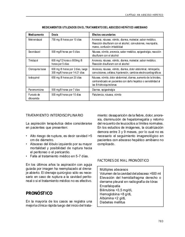 783 CAPÍTULO XIII: ABSCESO HEPÁTICO MEDICAMENTOS UTILIZADOS EN EL TRATAMIENTO DEL ABSCESO HEPÁTICO AMEBIANO Medicamento Do...