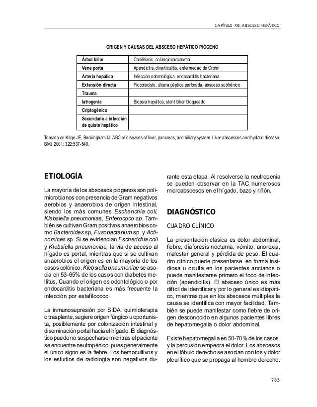 785 CAPÍTULO XIII: ABSCESO HEPÁTICO ORIGEN Y CAUSAS DEL ABSCESO HEPÁTICO PIÓGENO Árbol biliar Colelitiasis, colangiocarcin...