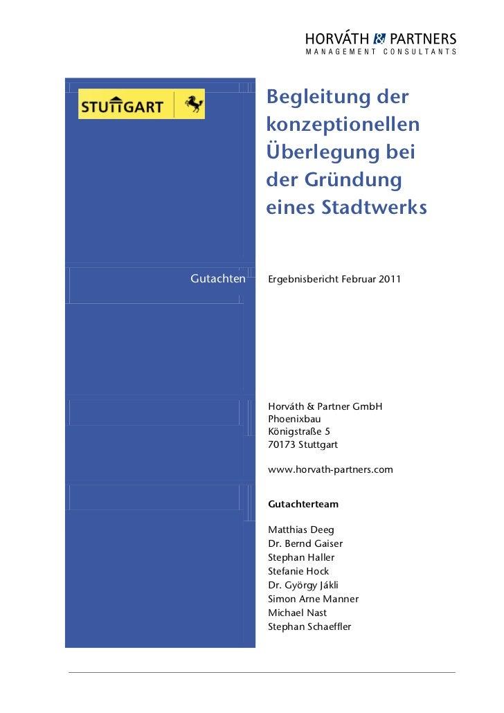 Begleitung der            konzeptionellen            Überlegung bei            der Gründung            eines StadtwerksGut...