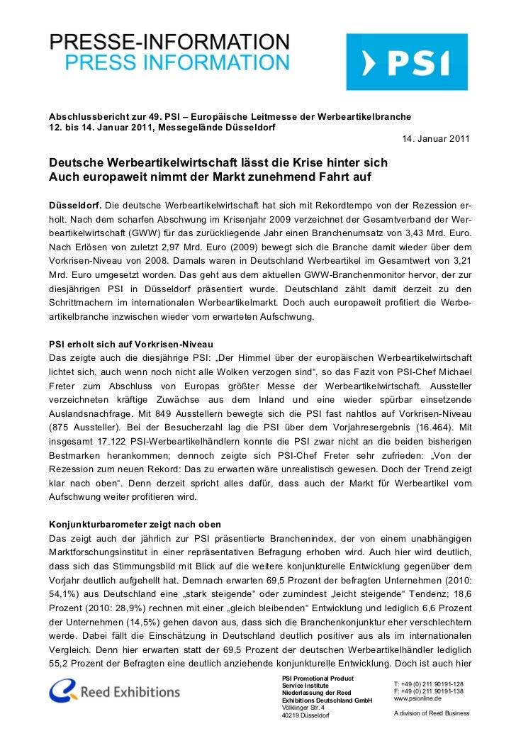Abschlussbericht zur 49. PSI – Europäische Leitmesse der Werbeartikelbranche12. bis 14. Januar 2011, Messegelände Düsseldo...