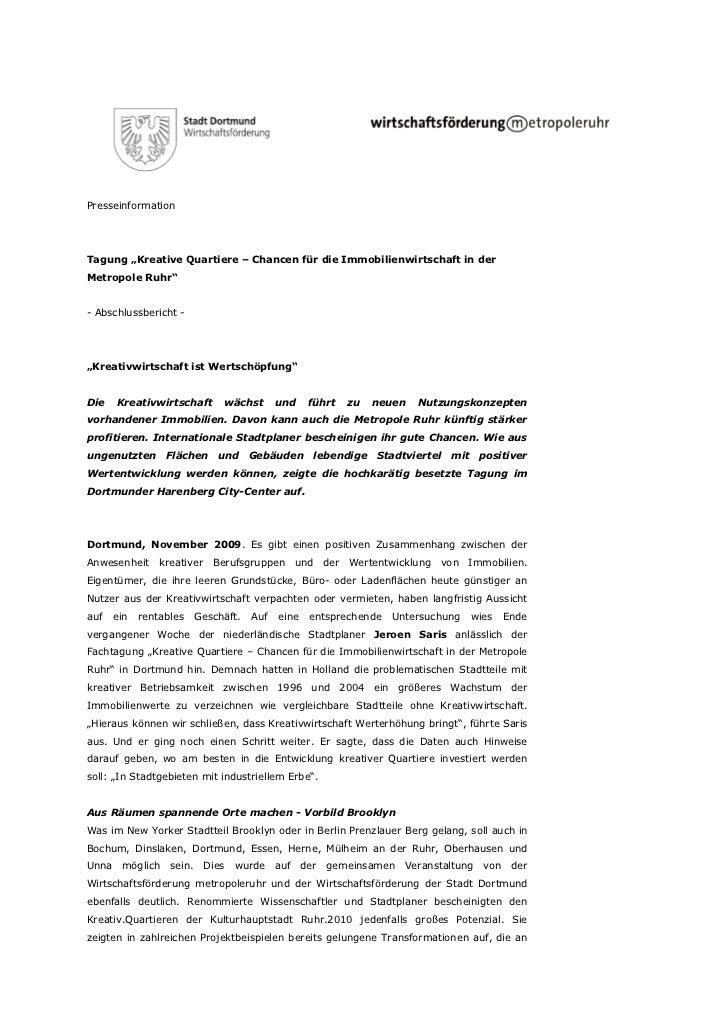 """PresseinformationTagung """"Kreative Quartiere – Chancen für die Immobilienwirtschaft in derMetropole Ruhr""""- Abschlussbericht..."""