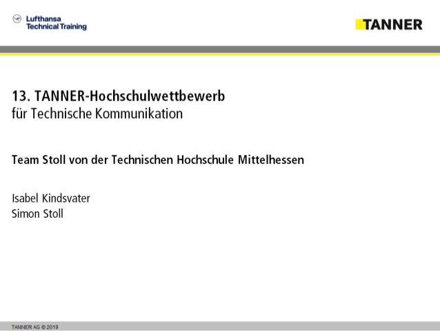 Lufthansa Technical Training Team Stoll von der Technischen Hochschule Mittelhessen Isabel Kindsvater Simon Stoll 13. TANN...