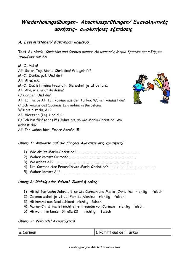 Wiederholung A1 Deutsch Ein Hit 1 Lektionen 1 Und 2