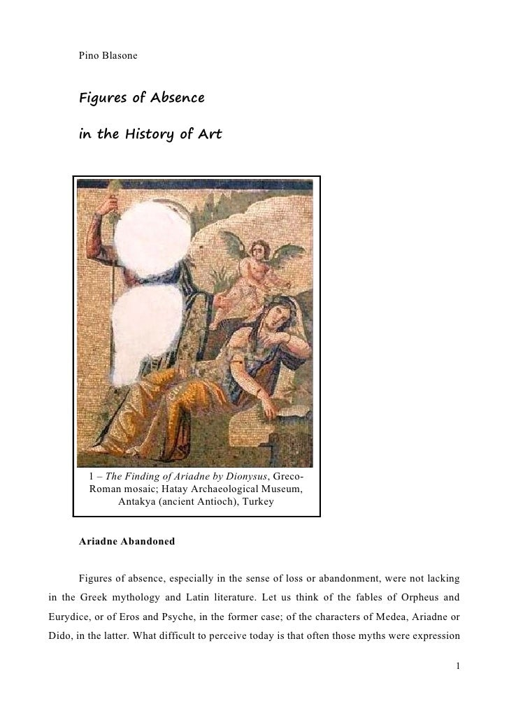 Pino Blasone          Figures of Absence         in the History of Art              1 – The Finding of Ariadne by Dionysus...