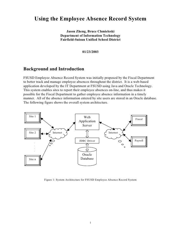 Using the Employee Absence Record System                                Jason Zheng, Bruce Chmieleski                     ...