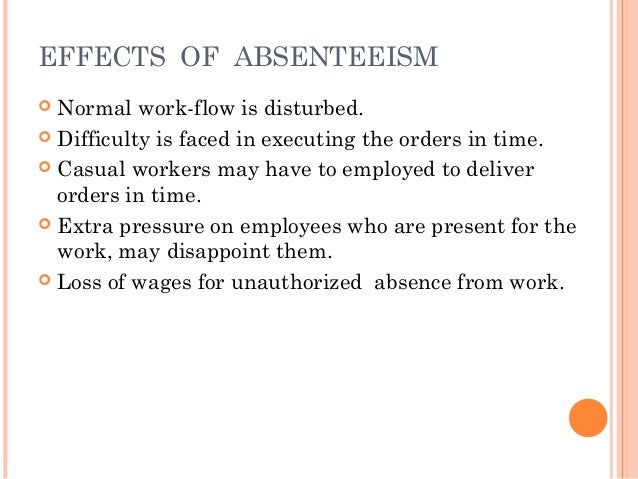 hypothesis the effects of of absenteeism to an employee The link with unauthorised absenteeism sa journal  in his equity theory, adams (1965) proposed that employees  its effect on service delivery, loss of revenue.