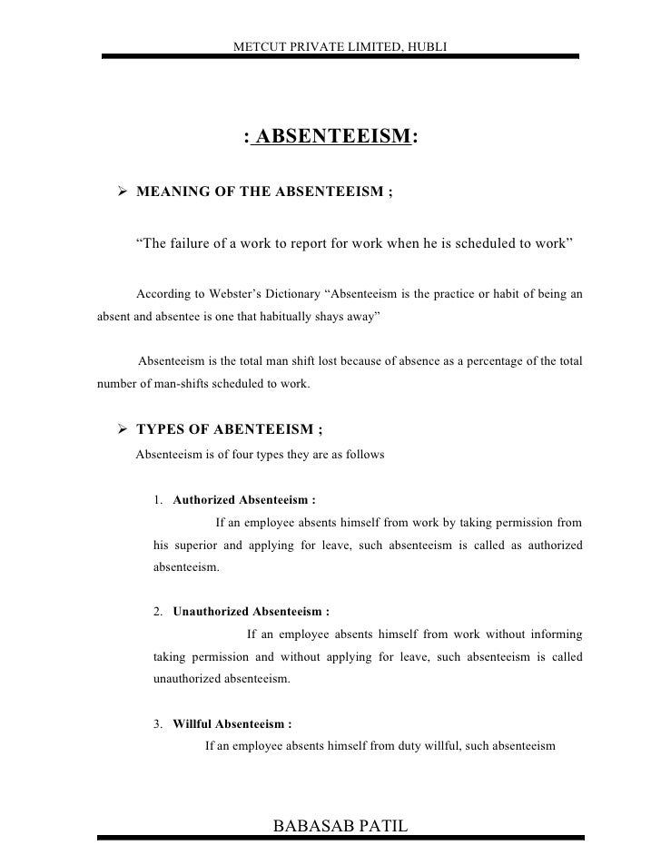 project report on absenteeism Description of review of literature on employee absenteeism project pdf  is that  you have all of the facts which you get from medical reports to medical evidence.