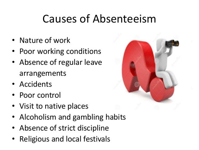 causes of absenteeism Absenteeism can happen through authorised and unauthorised absence and these can be grouped into: situational, personal and attendance factors.
