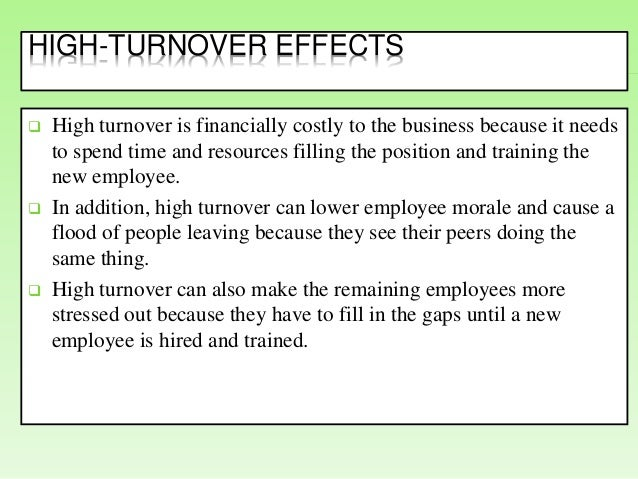 employee turnover causes and effects Between the positive and negative effects of the turnover  discusses some of the existing literature related to the causes and consequences of employee turnover.