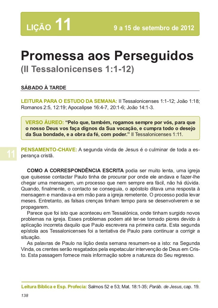 LIÇÃO         11                          9 a 15 de setembro de 2012Promessa aos Perseguidos(II Tessalonicenses 1:1-12)SÁ...