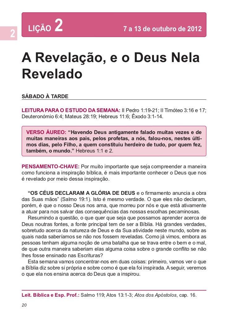 LIÇÃO     2                             7 a 13 de outubro de 2012A Revelação, e o Deus NelaReveladoSÁBADO À TARDELEITURA ...