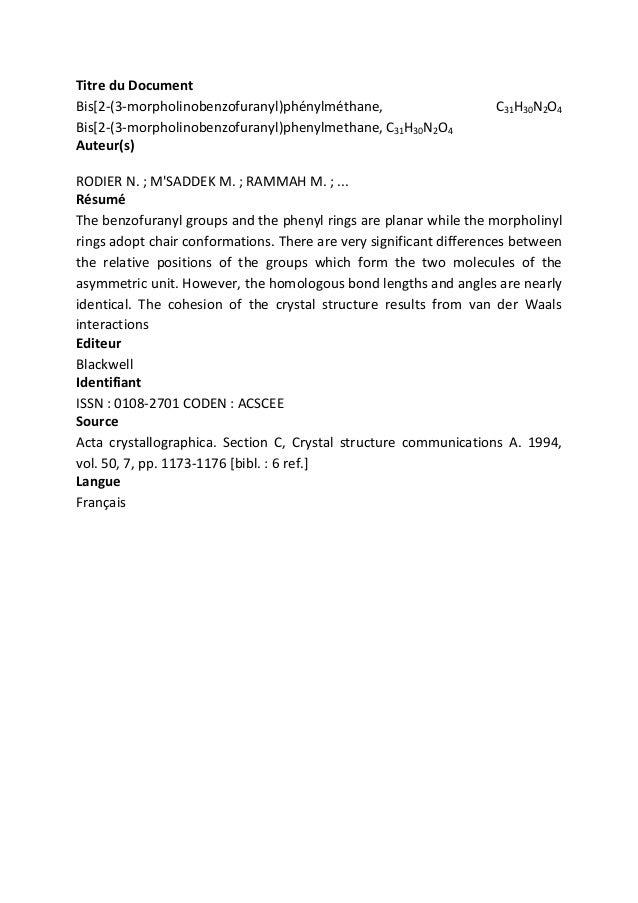Titre du Document Bis[2-(3-morpholinobenzofuranyl)phénylméthane, Bis[2-(3-morpholinobenzofuranyl)phenylmethane, C31H30N2O4...