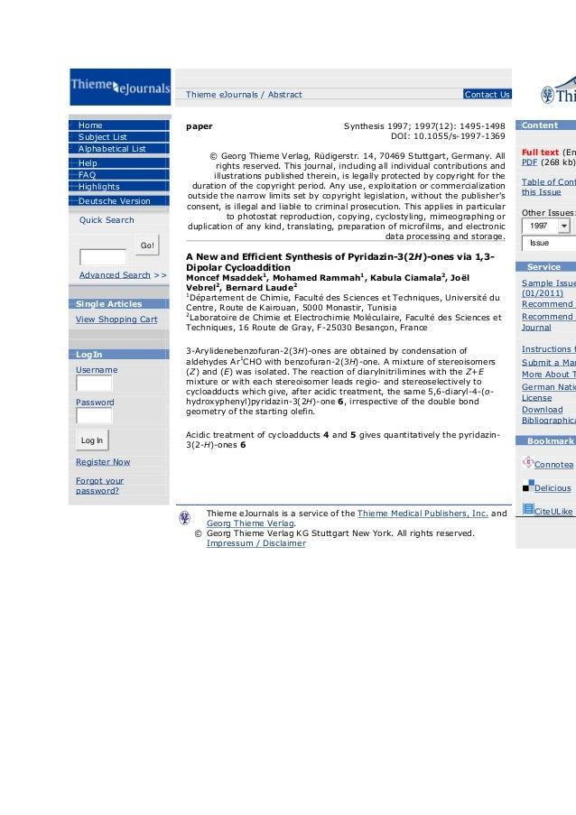 Thieme eJournals / Abstract  Home Subject List Alphabetical List Help FAQ Highlights Deutsche Version Quick Search  paper ...