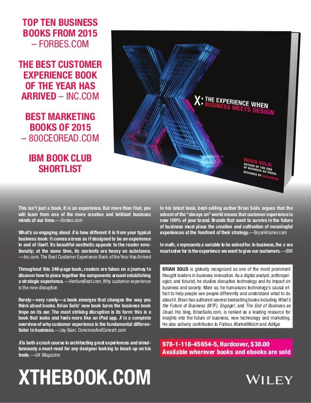 XtheBook.com Top Ten Business Books From 2015 – Forbes.com The Best Customer Experience Book of the Year Has Arrived – Inc...