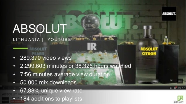 ABSOLUT L I T H U A N I A   Y O U T U B E 34 • 289.370 video views • 2.299.603 minutes or 38.326 hours watched • 7:56 minu...